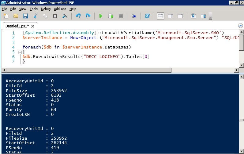 Check SQL Server Virtual Log Files Using PowerShell