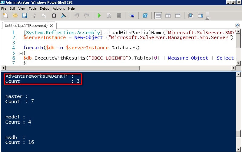 you can now see a property named Count that maps to the result returned by the ExecuteWithResults method of the Database class