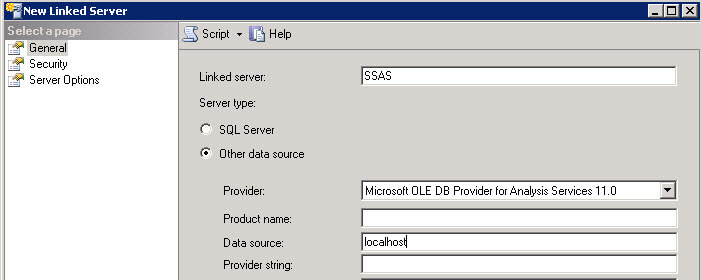 Create SSAS linked server