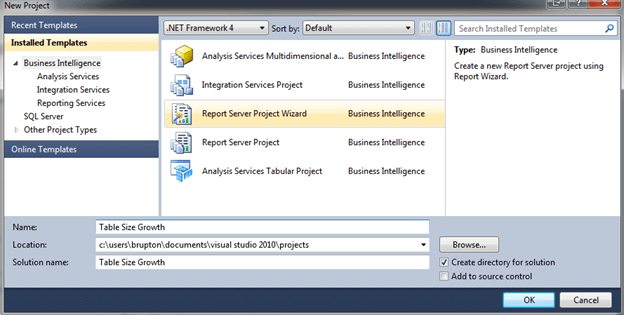 open Business Intelligence Studio (SQL 2008 and below) or SQL Server Data Tools (SQL 2012)
