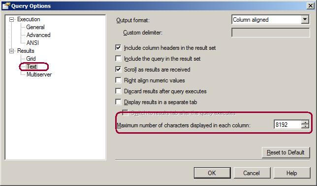 Query Options Window