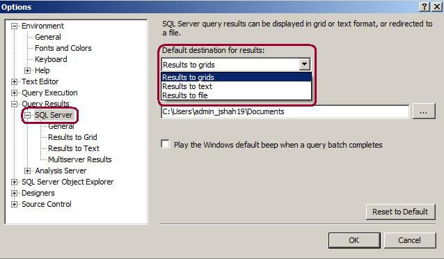 SSMS Option Window