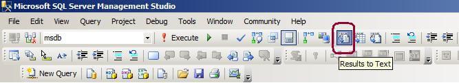 SSMS Toolbar