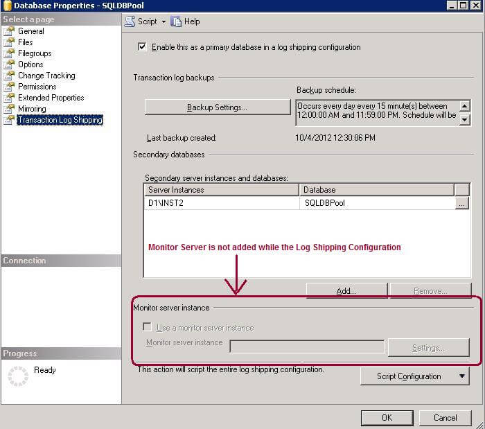 SQL Server Log Shipping Monitor server instance is not configured