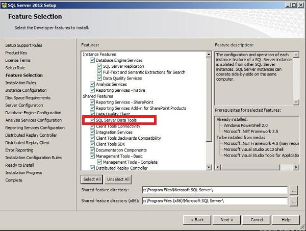 SQL Server 2012 Installation Features