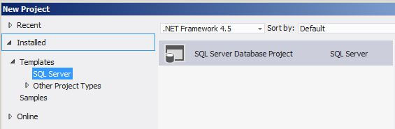 Microsoft SQL Server Data Tools New Project Interface
