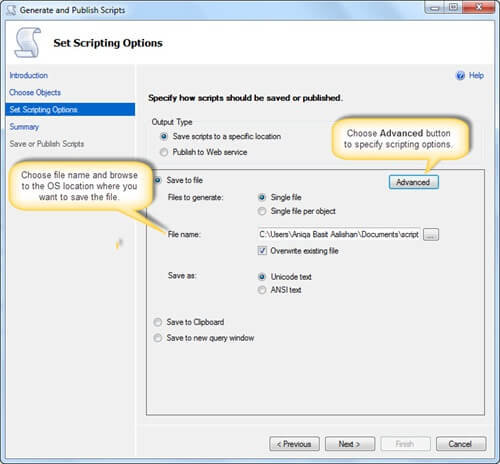 Choose option Specifying scripting options in the SQL Server Management Studio Generate Scripts Wizard