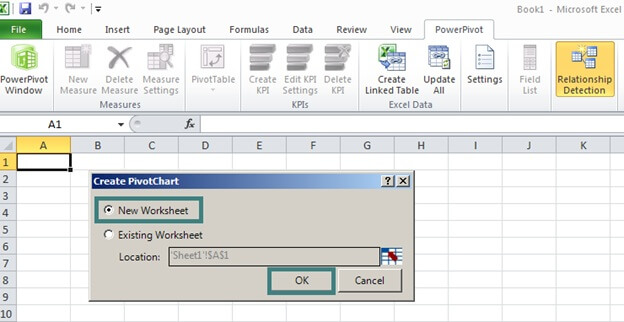 Select a New Worksheet to display the chart in PowerPivot