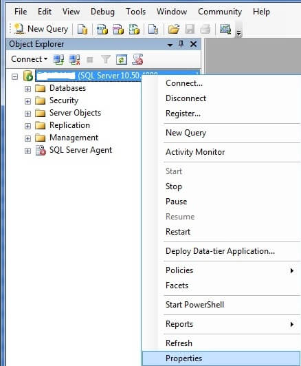 Right click on connected SQL Server Instance