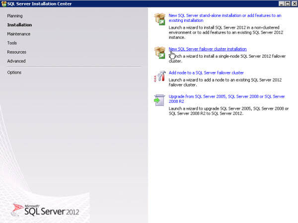 SQL Server Installation Center - Installation Screen