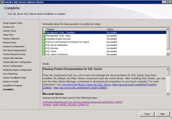 Continue through the remaining SQL Server cluster install steps