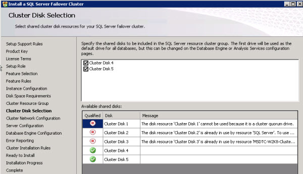 SQL Server Installation - Cluster Disk Selection