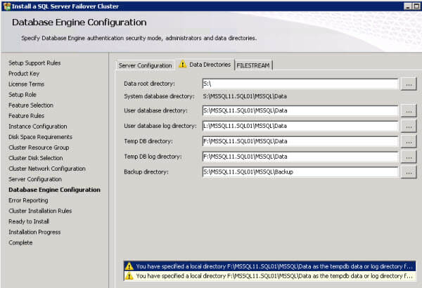 Install a SQL Server Failover Cluster - Database Engine Configuration