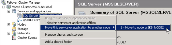Failover Cluster Manager - Move this service or application to a different node