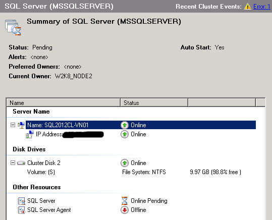 It is possible that the SQL Server resource and the SQL Agent resource fail to come up on the second cluster node