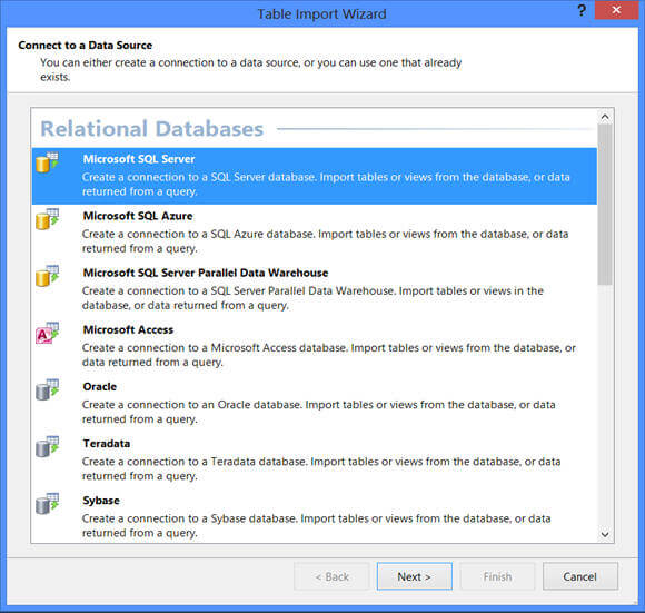 "click on ""Import from Data Source"" to launch Table import wizard"