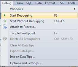 Start Debugging from the Menu bar