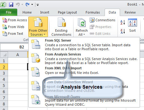 connect from Excel to SSAS
