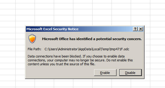 There is a Microsoft Excel Security Notice
