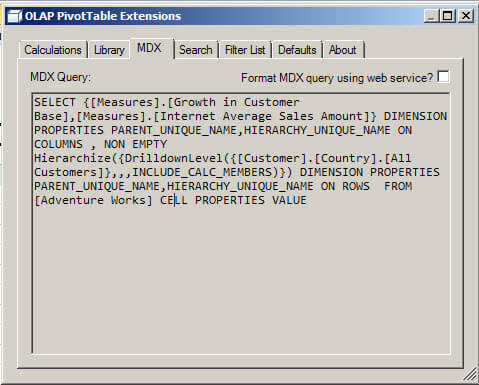 You can see the MDX Query and verify the query generated.