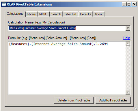 And create a Calculation with the OLAP PivotTable Extension