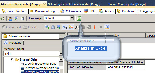you have also a nice icon to open your SSAS project directly in Excel