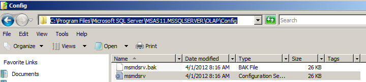 Configuration path of Microsoft SQL Server\MSAS\OLAP\Config for the msmdsrv file