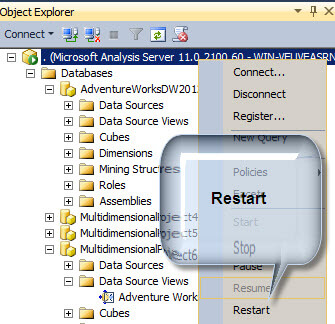Restart the SQL Server Analysis Services service