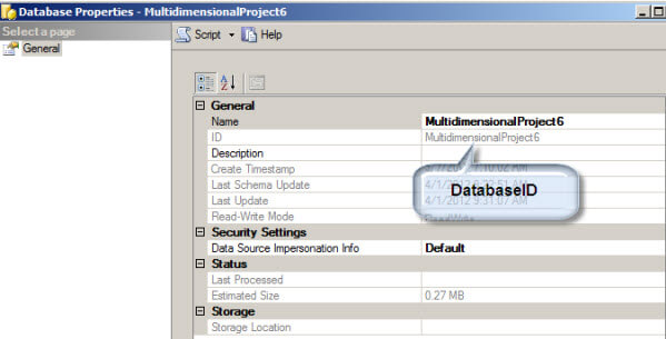 Determine the DatabaseID in the database properties