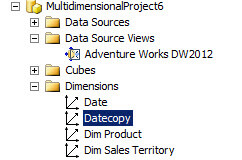 Verify the dimension is added in the SQL Server Analysis Services Project
