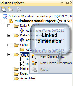 Create a new SQL Server Analysis Services Linked Dimension
