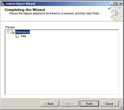 Linked Object Wizard - Completing the Wizard