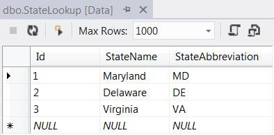right clicking on the table in the SQL Server Object Explorer and selecting View Data from the context menu.
