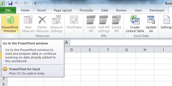 Launch PowerPivot