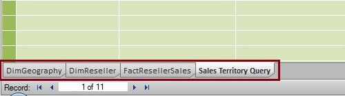 Sales Territory Query Table Imported into PowerPivot