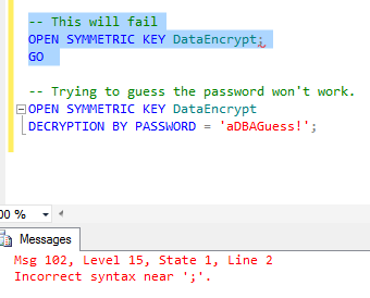Attempts to Break the Encryption via T-SQL commands