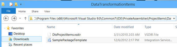 save a copy of this package at the following location based on version of SQL Server you are using