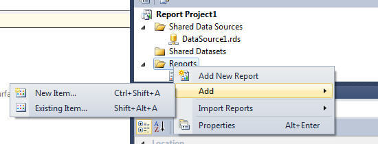 Add new report to your SSDT project