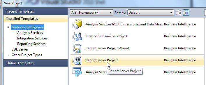 Create a new Report Server Project