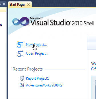 Start a new project in Visual Studio 2010 Shell - SQL Server Data Tools