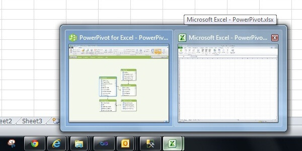 Excel and PowerPivot Windows