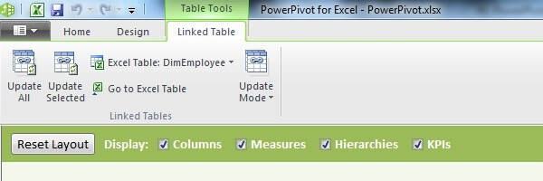 Linked Table Tab in PowerPivot Top Ribbon