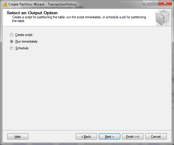 SQL Server Partition Wizard - Select an Output Option