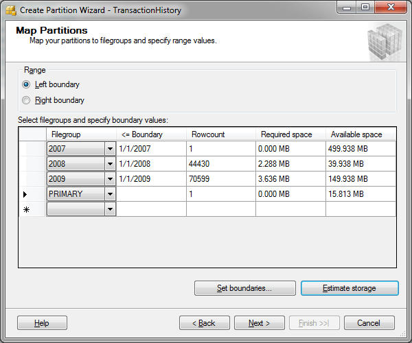 SQL Server Partition Wizard - Map Partitions