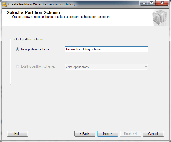SQL Server Partition Wizard - Select a Partition Scheme