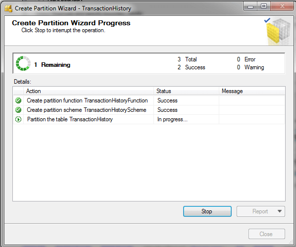 SQL Server Partition Wizard - Create Partition Wizard Progress