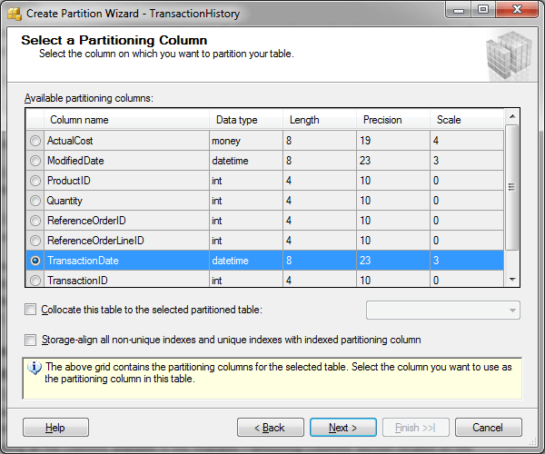 SQL Server Partition Wizard - Select a Partitioning Column