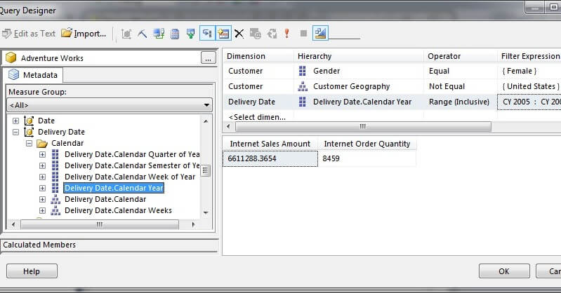 In Visual Studio Query Designer, choose the Calendar Year attribute of the Delivery Date role-playing dimension