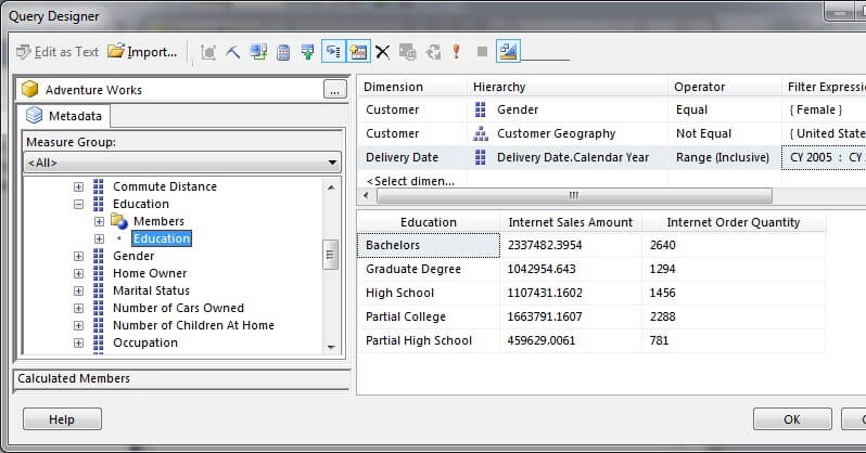 In Visual Studio Query Designer, drag the Education attribute of the Customer dimension