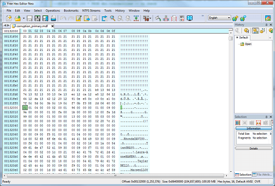 take a look at the hex editor at physical offset 132000 to try and explain the difference